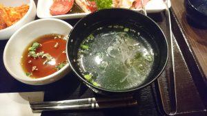 炭火和牛一頭焼肉錦焼肉ランチセットのスープ